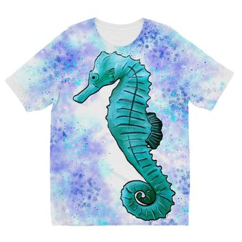 Aqua Seahorse with Sponged Background Designs by Amitie Kids Sublimation TShirt
