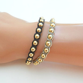 Gold beads Macramé Bracelet with Black Waxed Cotton Cord