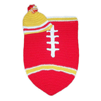 San Francisco 49ers Inspired Football Baby Cocoon & Hat (Newborn to 3 months)
