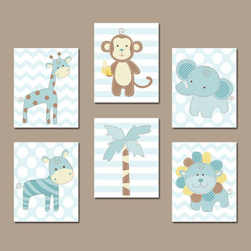 Safari Animals Wall Art, Baby Boy Nursery Wall Art, CANVAS or Prints, Zoo Animal Pictures, Jungle Theme, Elephant Monkey Giraffe Set of 6