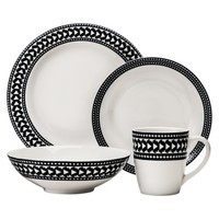 Nate Berkus Banded Arrow 16-Piece Dinnerware Set - Black