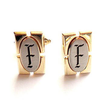 Vintage Monogram F Cuff Links Signed Hickok Gold Silver Tone Wedding Gift Father Groom Best Man Formal Initial