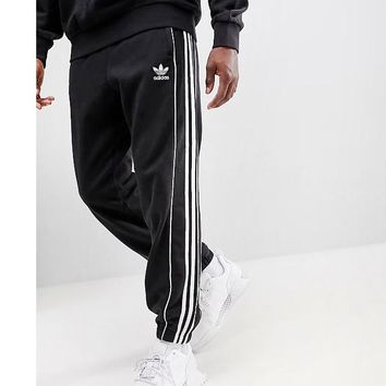 Adidas clover classic three bars zipper pocket embroidery logo terry cotton sports women men trousers black
