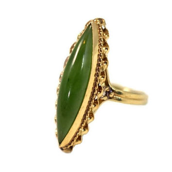 14k Gold Jade Ring Elongated Marquise Cabochon Regal Vintage Setting