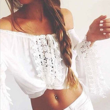 White Crochet Lace Off the Shoulder Crop Top