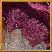 Vintage Woman's Burgundy Velvet French Tam Beret Hat Embellished with a Burgundy Silk Organza Beaded Bow