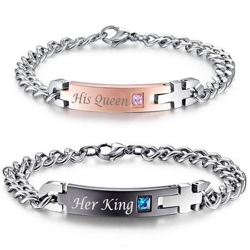 """Cool Gaxybb Unique Gift For The Lover """"Your Queen"""" """"Your King"""" Couple Bracelets Stainless Steel Bracelets For Women Men JewelryAT_93_12"""