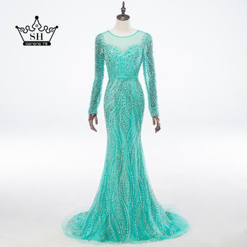 Luxury Sheer Long Sleeve Crystal Beaded Sequins Long Evening Dresses Illusion Back Mermaid Prom Dress Party Dubai Robe De Soiree