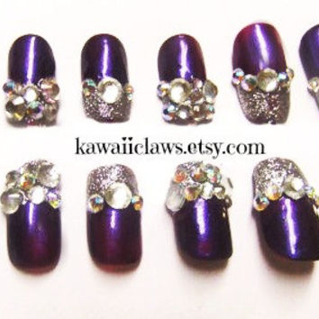 Diamonds are a girls best friend  Metallic purple Sparkly Bling Princess False/Fake Full cover Nails with silver glitter