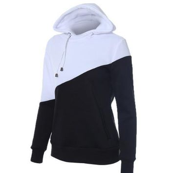 Black and white spell color hooded pocket sweater