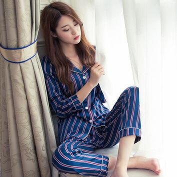New 2017 Spring Autumn Ladies Silk Striped Pajama Sets Long Sleeve Shirts And Trousers Pajamas Lovely Cute Homewear