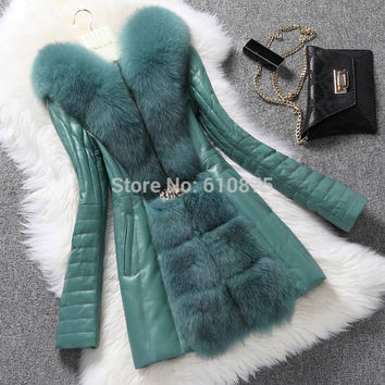 D50 Female winter plus size Sheep skin turn down fox fur collar Cardigan White duck down long slim down parkas jacket T05