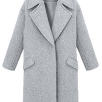 Notched Collar Pockets Long Sleeve Woolen Coat