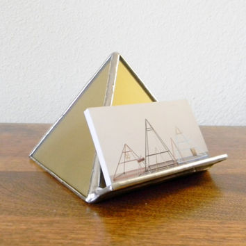 Gold Stained Glass Pyramid Business Card Holder - Ready to Ship