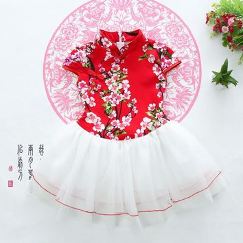 2016 New Chinese Folk Style Girls Summer Dress Baby Flowers Wedding Party Dance Children Costume Minnie Free Shipping Hot Sell