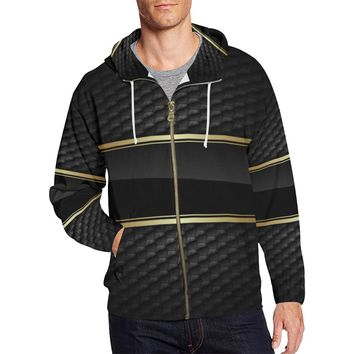 Gold N Black Full Zip Hoodie For Men