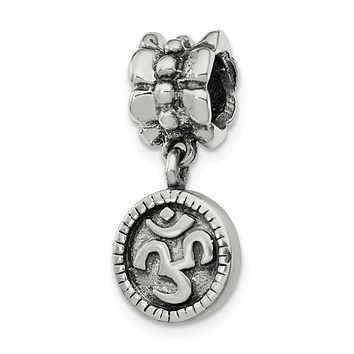 Sterling Silver Om or AUM Dangle Bead Charm