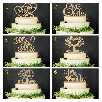 Hot Cake Topper Wooden Acrylic  Wedding Birthday Hallowmas Christmas Party Cake Decorations Mr Mrs Xmas Gift