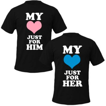 my heart for him/her Couple Tshirts