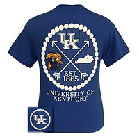 UK Kentucky Wildcats Big Blue Preppy Arrow Pearls Girlie Bright T Shirt