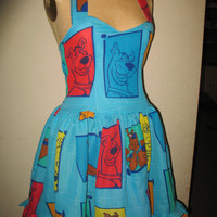 Custom Made to Order Geekery Pin up Scooby Doo and his many different faces SweetHeart Ruffled Halter Mini Dress