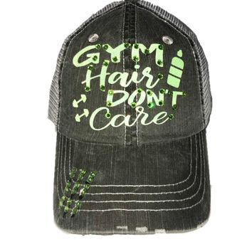 "Green Glitter Font ""Gym Hair Don't Care"" Distressed Hat"