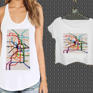 Custom Made London Underground Tube Map Vintage For Woman Tank Top , Man Tank Top / Crop Shirt, Sexy Shirt,Cropped Shirt,Crop Tshirt Women,Crop Shirt Women S, M, L, XL, 2XL**