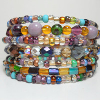 Memory Wire Bracelet Oceanside Blue and Purple Stacked Beaded Wrap