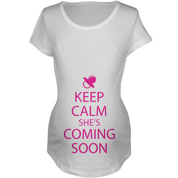 Keep Calm She's Coming Soon Maternity T-Shirt