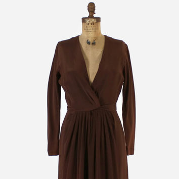 Vintage 70s Oscar De La Renta Dress / 1970s ODLR Brown Crepe Plunging Neckline Evening Gown M