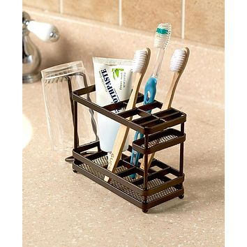 Bathroom Toothpaste and Toothbrush Holder Organizer