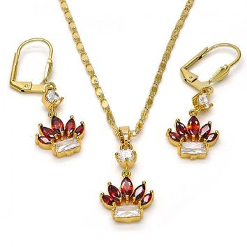 Gold Layered 10.221.0007 Necklace and Earring, Leaf Design, with White and Garnet Cubic Zirconia, Polished Finish, Gold Tone