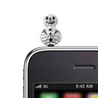 Crystal Smiley Snowman iPhone Jack Anti Dust Plug Cover Stopper (Silver Plated)