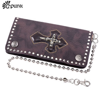 Brown Genuine Leather Mens Wallet Skull Cross Punk Wallet Vintage Wallet Long Purse With Chain Jeans Wallet For Men Gift  W009