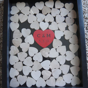 Unique Wedding Guestbook and Heart Guestbook (Drop Top Guestbook) - Any Color - 11x14- Including Shadow Box