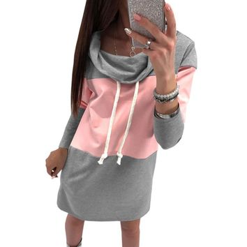 Hoodies Dress Women Turtleneck Drawstring Winter Warm Mini Dresses Autumn Spring Femme Plus Size Sweatshirts Dress GV147