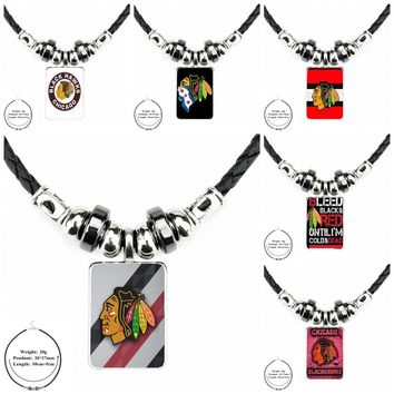 Vintage Jewelry Black Leather Bead Pendant Glass Cabochon Necklace For Women Christmas Gift Chicago Blackhawks Nhl Hockey