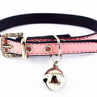 Adjustable Pet Dog Cat PU Leather Collar Bling Diamond Rhinestone Buckle With Bell XS,Pink