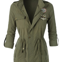 LE3NO Womens Studded Military Anorak Jacket (CLEARANCE)