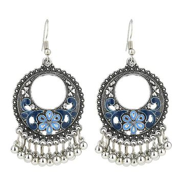Bohemian Beads Tassel Earrings Fashion Jewelry 2018 Indian Boho Enamel Carved Flower Drop Earrings For Women Brincos 5E865