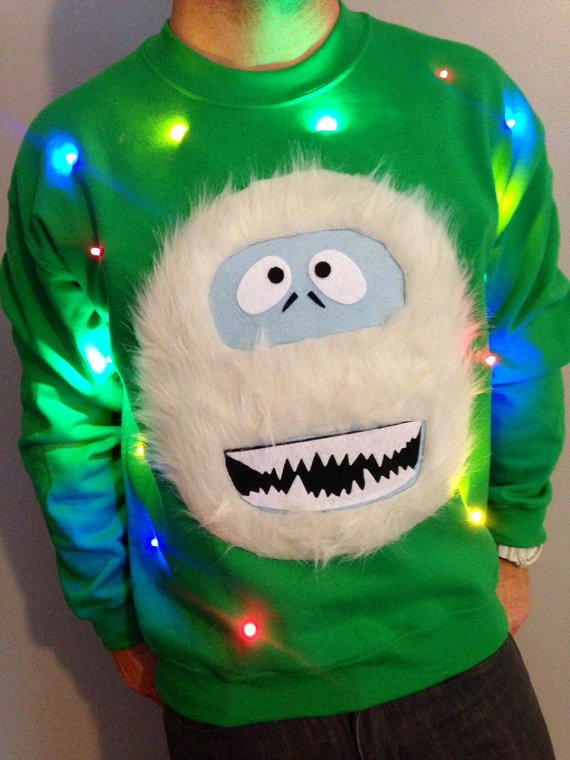 Light up ugly christmas sweater from grand rapids light up for Abominable snowman christmas light decoration