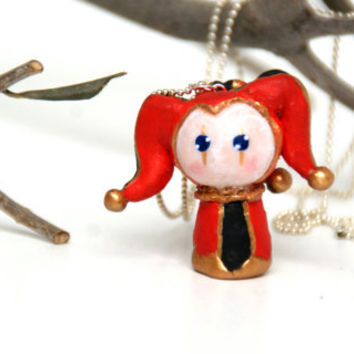 Mediaval Jester , Polymer Clay Chibi Necklace Handmade