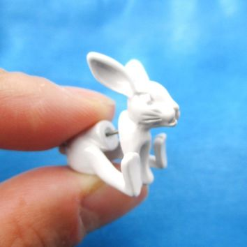 Fake Gauge Earrings: Realistic Bunny Rabbit Animal Shaped Plug Stud Earrings in White