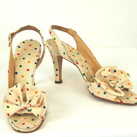 1950s heels, 50s slingbacks, polka dot shoes, Delisio shoes, linen fabric shoes, cream ivory, Size 7 N