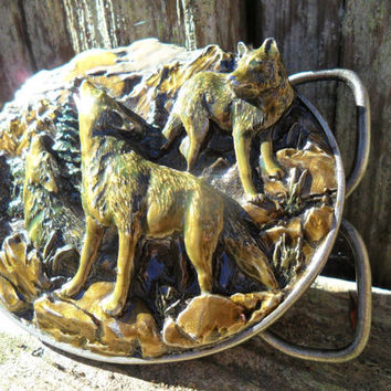 Pewter/Enamel WOLF Vintage Belt Buckle by Bergamont, Siskiyou, Arroyo Grande and Appaloosa