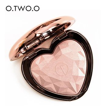 O.TWO.O Highlighter Palette Powder Bronzer Heart Shape Highlight Shimmer Brighten Pigment Contour iluminador Face Makeup New