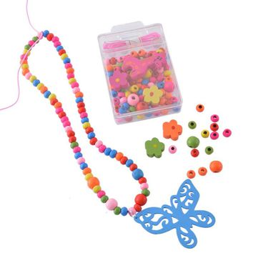 LASPERAL Wood Beads Sets For Kids Children Intelligence Diy Crafts Wood Beads Kits Jewelry Findings For Making Necklace Bracelet