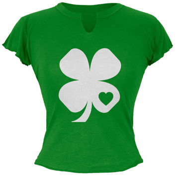 St. Patrick's Day Shamrock Heart Irish Green Juniors Soft T-Shirt