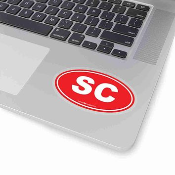 South Carolina SC Euro Oval Sticker SOLID RED