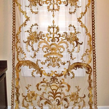 ITALIAN EMBROIDERED Velvet Fabric SHEER Drapes Panel Gold Brown
